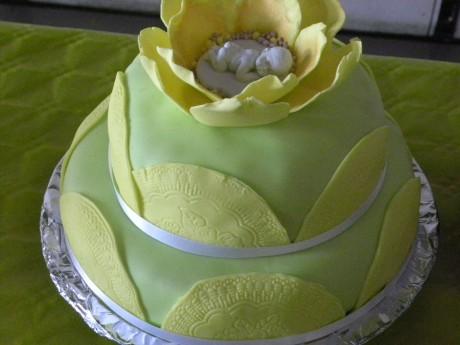 Grön tårta med sovande baby i porslin i blomma av marsipan