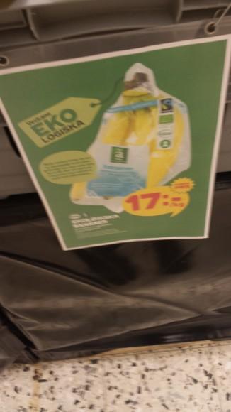 Skylt med texten Ekobananer 17kr/kg