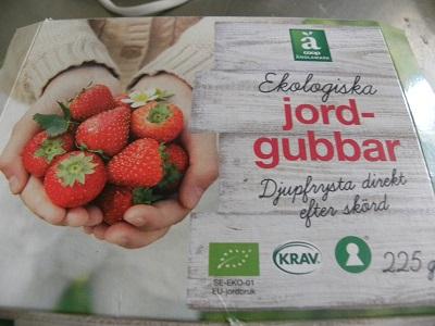 Ett paket ekologiska jordgubbar