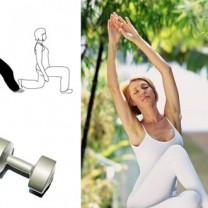 Kvinna i vitt stretchar