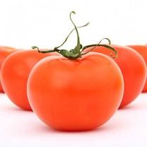 Tomater ligger uppradade i en triangel på vitt bord