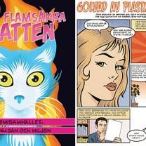 Den flamsäkra katten - omslag samt animerad sida ur boken