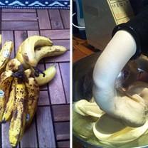 Tvåbild: lite mörka bananer, glass som kommer ur juicer