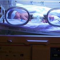 Nyfödd bebis i kuvös