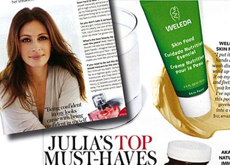 Uppslag ur tidningen InStyle Magazine: Julia Roberts och en tub Skin Food