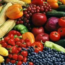 Blandade frukter och grönsaker