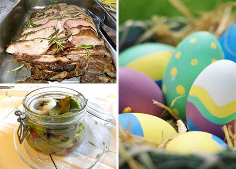 Lamm, sill och målade ägg i kollage.
