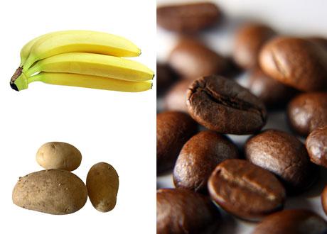 Kaffe, banan och potatis