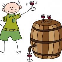 Illustration med person som dricker rödvin ur tunna.