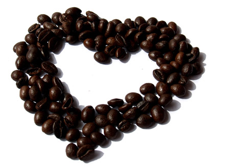 Kaffebönor i hjärta
