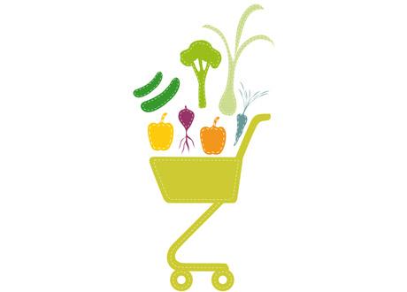 Illustration med kundvagn och grönsaker