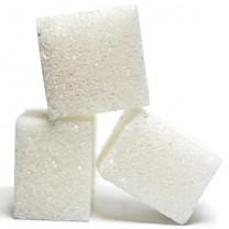 Tre sockerbitar staplade på varandra