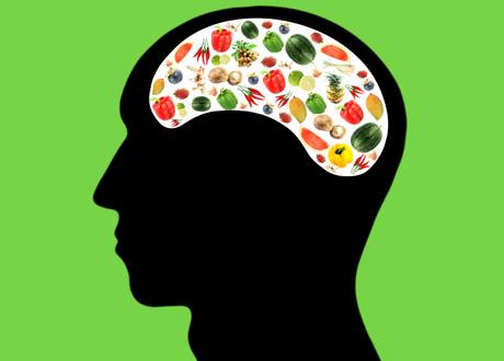 En tecknad hjärna full av nyttigheter grön bakgrund
