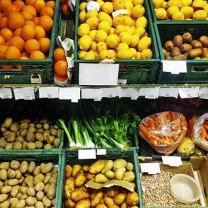 Grönsakshylla i butik