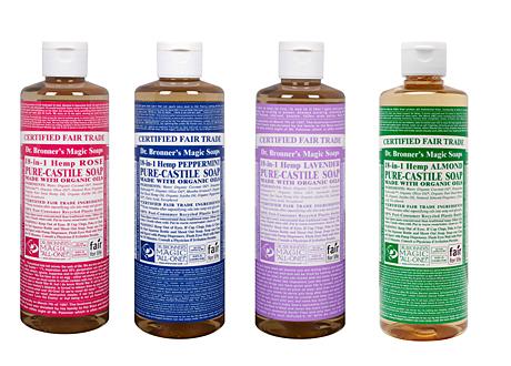 Dr Bronners ekologiska multifunktionella tvålar i fyra färger