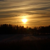 Solnedgang i svenskt vintrigt landskap