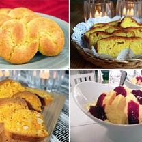 Bildkollage fyra recept med saffran