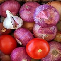 rödlök, vitlök och tomater i korg