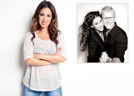 Katrin Zytomierska plus inklippt bild på katrin med sambon Bingo Rimér håller om varandra i dansposé