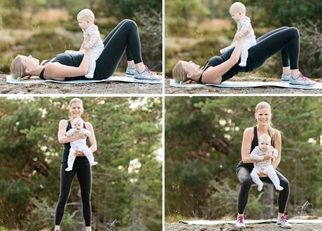 Terese Alvén visar styrketräningsövningar med en bebis