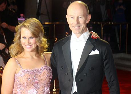 Proffsdansaren Cecilia Ehrling och skidlegenden Ingemar Stenmark på pressträffen av Lets Dance 2015