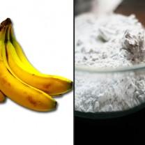 Fläckiga bananer och skål med mjöl kollage