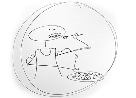 Animerad streckgubbe äter från tallrik
