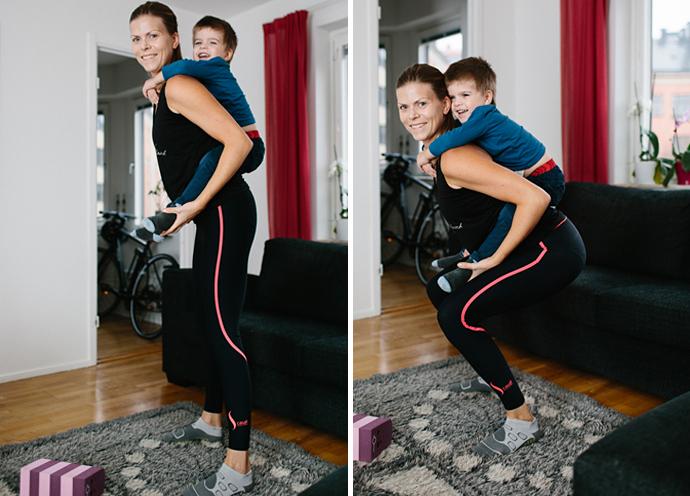 Terese Alvén visar övningar tillsammans med sin son/ung pojke