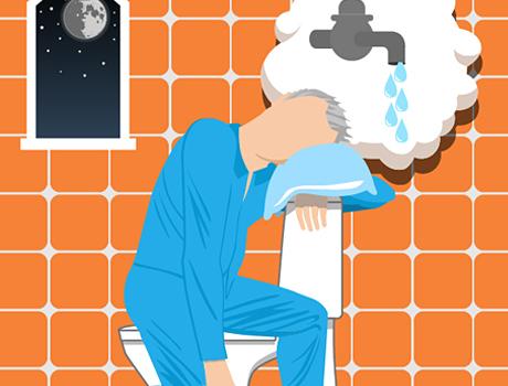 Illustrerad bild person på toaletten på natten