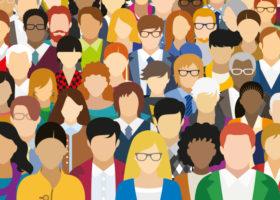 Illustrerad bild på personer i grupp med olika egenskaper.