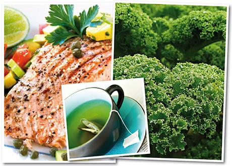 kollage med lax, grönkål och grönt te