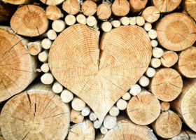 hjärtformad trästam