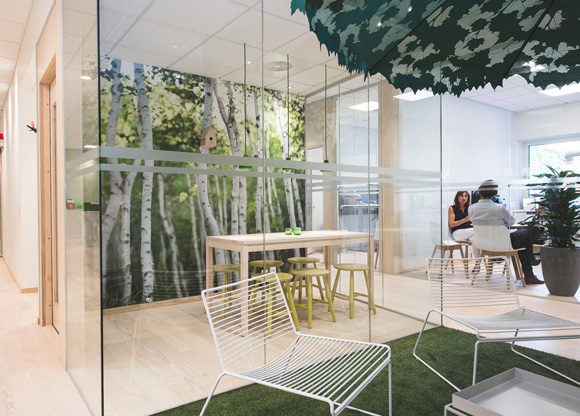korridor och mötesrum fondvägg skog