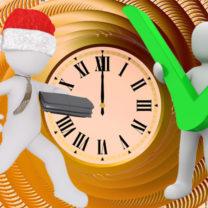Kollage med klocka, en stressad animerad gubbe och en lugn animerad gubbe som har saker gjorda
