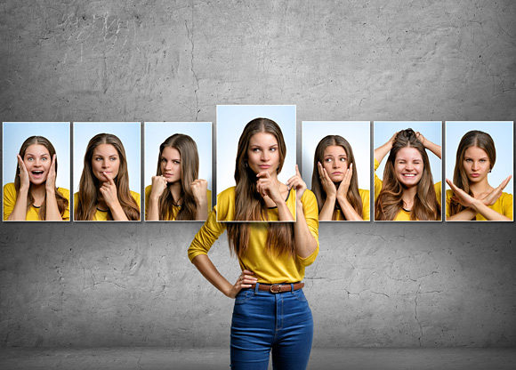 Flera bilder på samma kvinna där hon gör olika miner