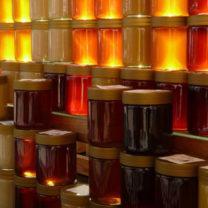 Honungsburkar på rad