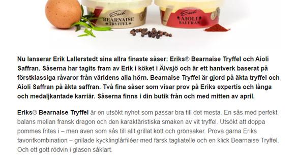 Eriks Bearnaise tryffel lanseringstext