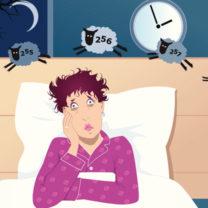 Animerad bild på kvinna i säng som räknar får