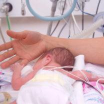 För tidigt född i kuvös med slangar håller i sin mammas finger