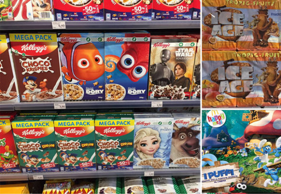 Kollage - Tecknade figurer på produkter riktade till barn