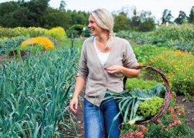 Erica Palmcrantz Aziz: går med matkorg på åker