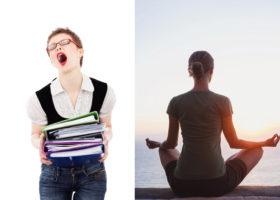 stressad kvinna och en som mediterar