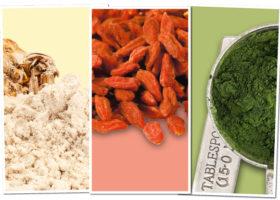 Tre superfoods maca goji chlorella