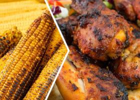 grillad kyckling och majs