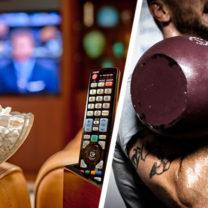 tv pop corn fjarrkontroll och man som lyfter tyngder