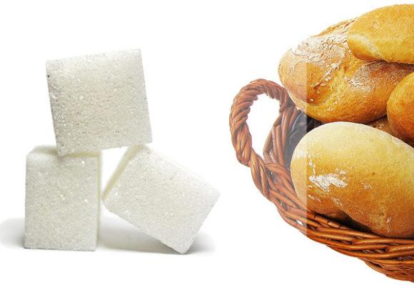 socker och vitt bröd