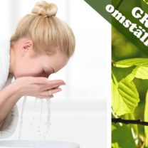 kvinna tvättar ansiktet, gröna blad och orden grön omställning