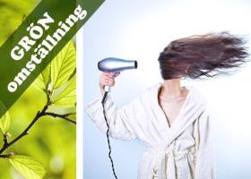 texten grön omställning kvinna fönar håret hudterapeut johanna bjurström., gröna blad och orden grön omställning