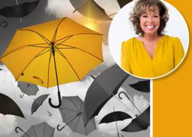 gult paraply bland svarta Christina Stielli