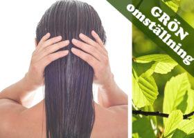 hudterapeuten johana bjurström långt hår bakifrån och gröna blad samt texten grön omställning